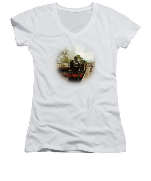 Goliath The Engine And Anna On Transparent Background Women's V-Neck T-Shirt (Junior Cut) by Terri Waters