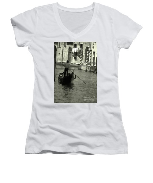 Gondolier In Venice   Women's V-Neck (Athletic Fit)
