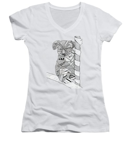 Goo Women's V-Neck T-Shirt (Junior Cut) by Serkes Panda
