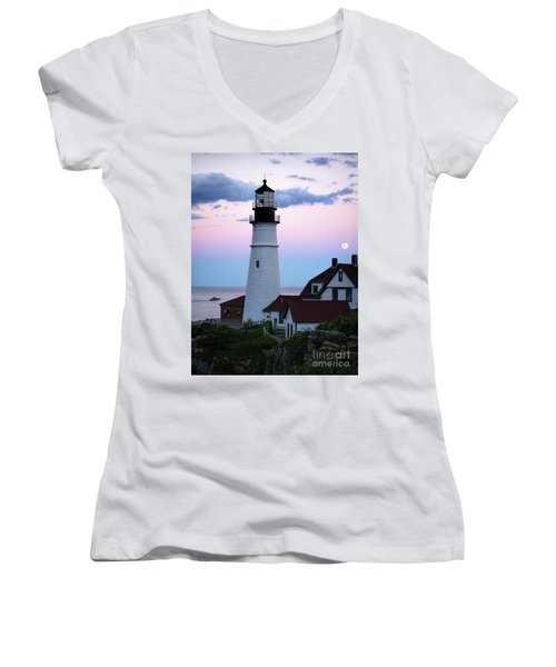 Women's V-Neck T-Shirt (Junior Cut) featuring the photograph Goodnight Moon, Goodnight Lighthouse  -98588 by John Bald