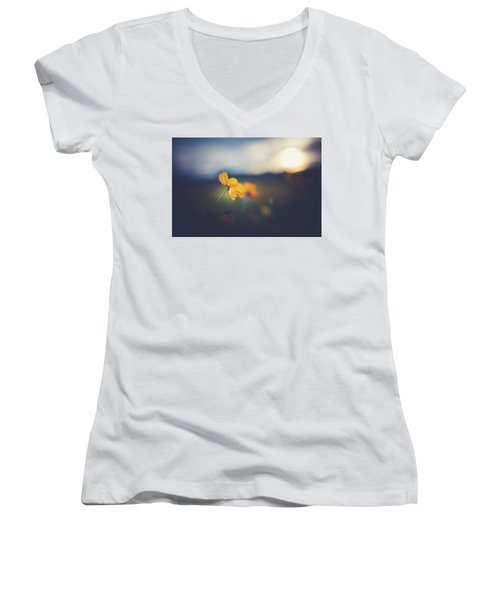 Women's V-Neck T-Shirt (Junior Cut) featuring the photograph Goodnight Sun by Shane Holsclaw