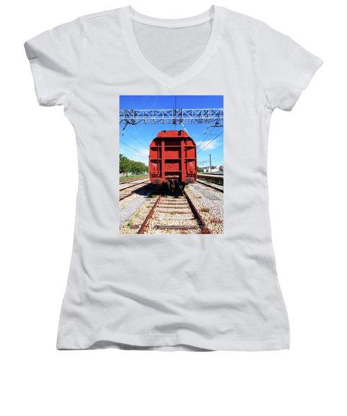 Goods Wagon Women's V-Neck T-Shirt (Junior Cut) by Don Pedro De Gracia