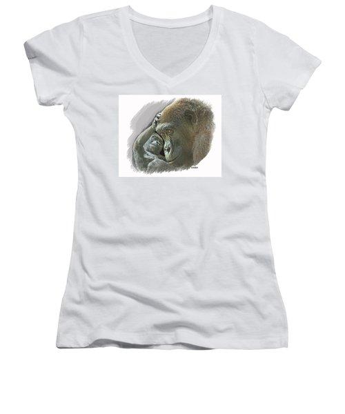 Gorilla Mother Women's V-Neck T-Shirt