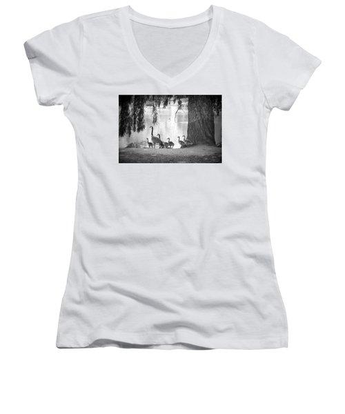 Goslings Bw7 Women's V-Neck T-Shirt (Junior Cut) by Clarice Lakota