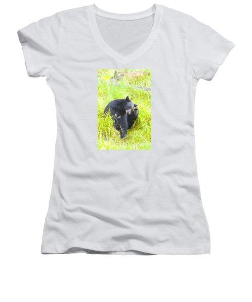 Got An Itch Women's V-Neck T-Shirt (Junior Cut) by Harold Piskiel