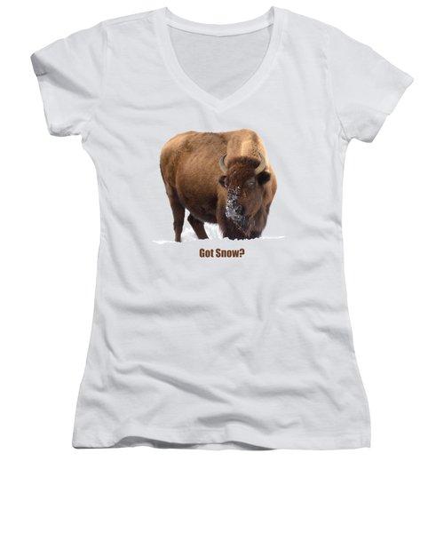 Got Snow? Women's V-Neck T-Shirt (Junior Cut) by Greg Norrell
