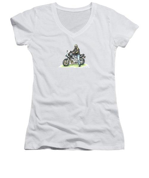 Got To Ride Women's V-Neck T-Shirt (Junior Cut) by Shari Nees