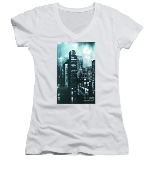 Women's V-Neck T-Shirt (Junior Cut) featuring the painting Gotham Painting by Maja Sokolowska
