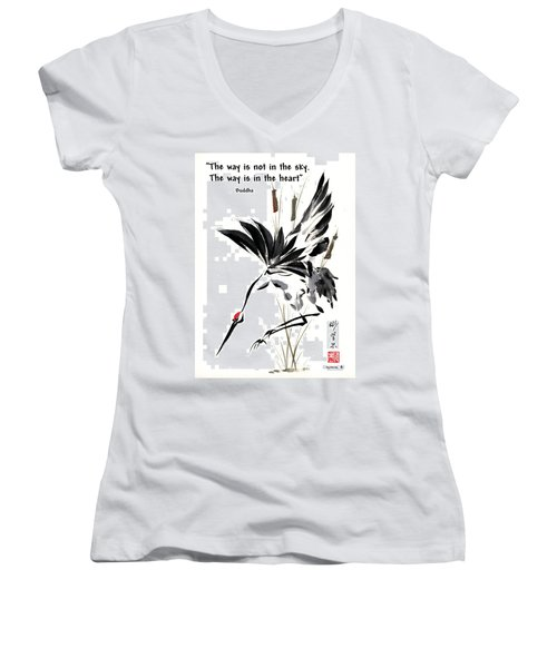 Women's V-Neck T-Shirt (Junior Cut) featuring the painting Grace Of Descent With Buddha Quote I by Bill Searle