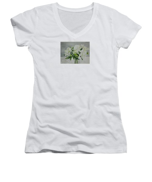 Graceful Peonies Women's V-Neck (Athletic Fit)