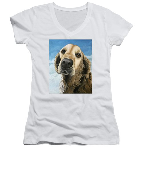 Gracie - Golden Retriever Dog Portrait Women's V-Neck