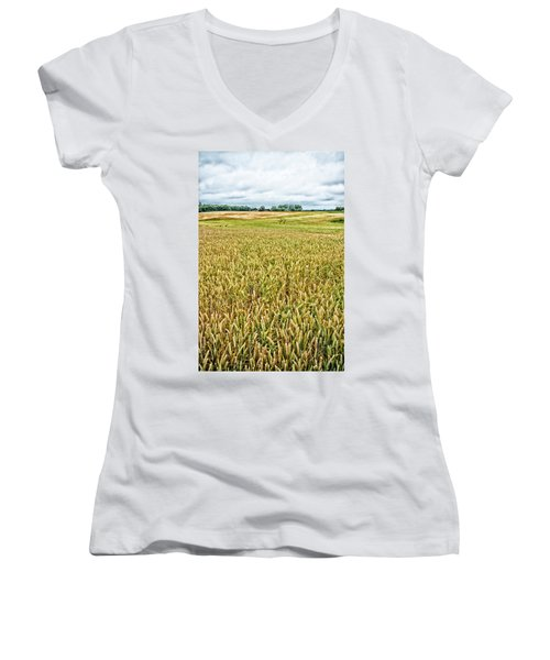 Women's V-Neck T-Shirt (Junior Cut) featuring the photograph Grain Field by Hans Engbers