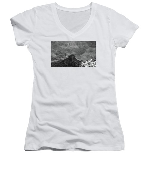 Women's V-Neck T-Shirt (Junior Cut) featuring the photograph Grand Canyon 4 In Black And White by Debby Pueschel