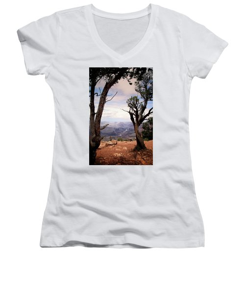 Women's V-Neck T-Shirt (Junior Cut) featuring the photograph Grand Canyon, Az by James Bethanis
