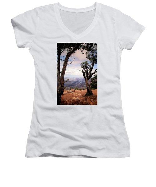 Grand Canyon, Az Women's V-Neck T-Shirt (Junior Cut) by James Bethanis