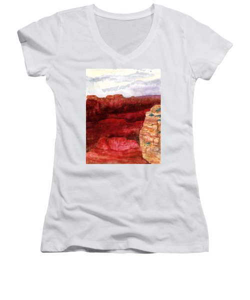 Women's V-Neck T-Shirt (Junior Cut) featuring the painting Grand Canyon S Rim by Eric Samuelson