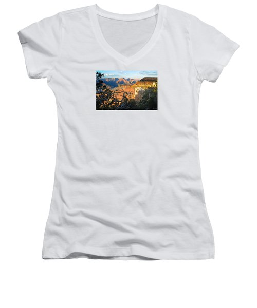Grand Canyon South Rim - Sunset Through Trees Women's V-Neck