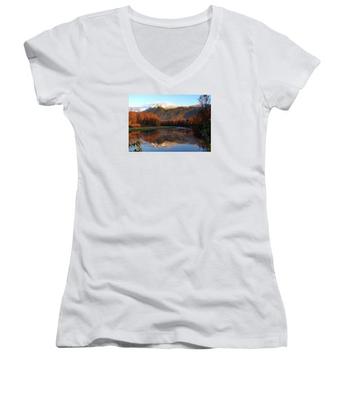 Mount Cheam, British Columbia Women's V-Neck T-Shirt (Junior Cut) by Heather Vopni