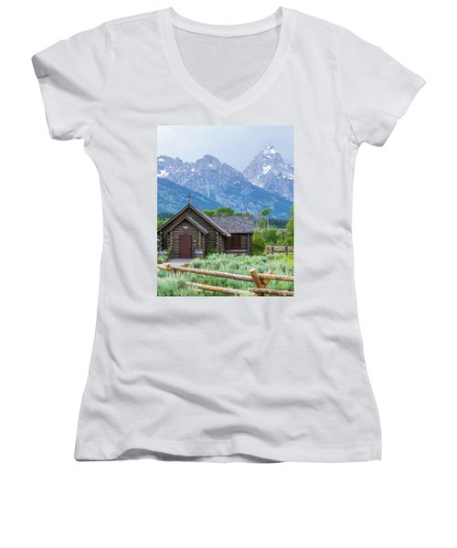 Grand Teton Church Women's V-Neck T-Shirt