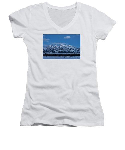 Grand Teton National Park Sunrise Women's V-Neck (Athletic Fit)