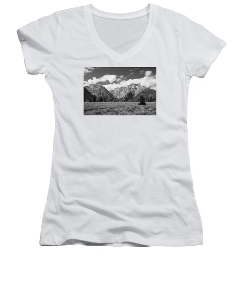 Grand Tetons In Black And White Women's V-Neck (Athletic Fit)