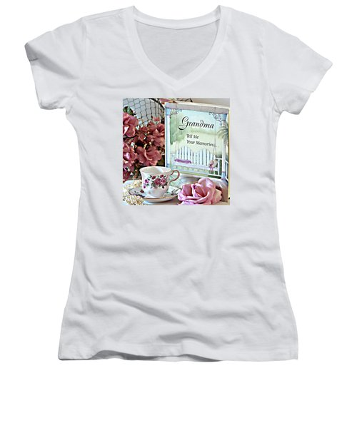 Women's V-Neck T-Shirt (Junior Cut) featuring the photograph Grandma Tell Me Your Memories... by Sherry Hallemeier