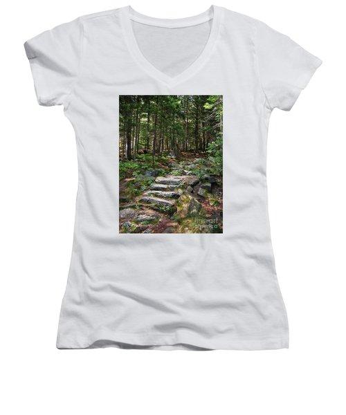 Women's V-Neck T-Shirt (Junior Cut) featuring the photograph Granite Steps, Camden Hills State Park, Camden, Maine -43933 by John Bald