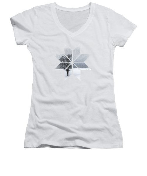 Graphic Art Snowflake Lonely Tree Women's V-Neck T-Shirt