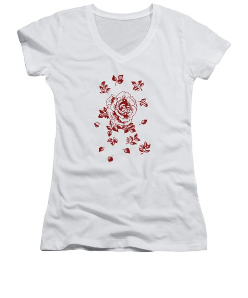 Graphic Red Rose With Leaves Women's V-Neck (Athletic Fit)