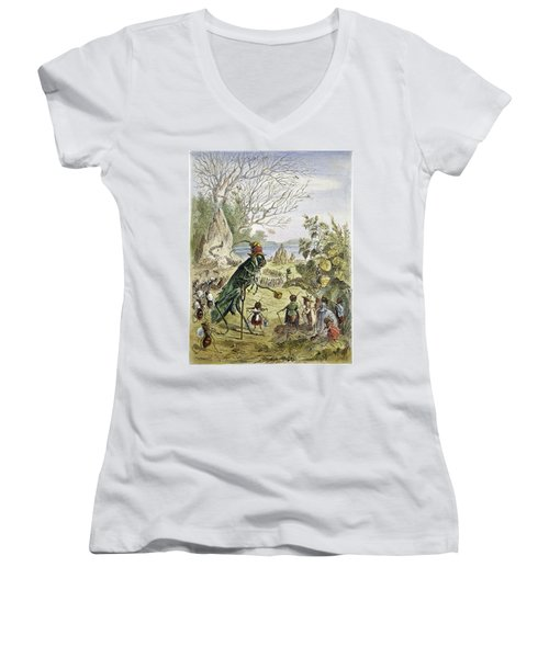 Grasshopper And Ant Women's V-Neck T-Shirt (Junior Cut) by Granger