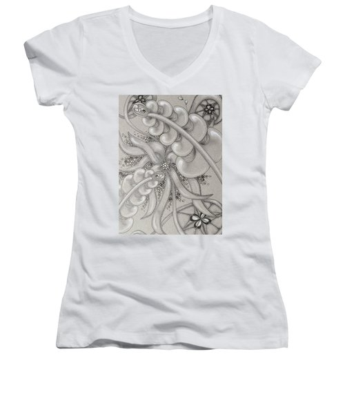 Gray Garden Explosion Women's V-Neck (Athletic Fit)
