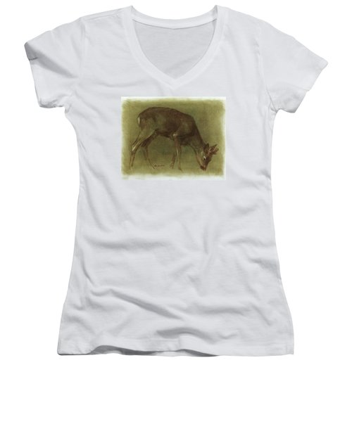 Grazing Roe Deer Oil Painting Women's V-Neck