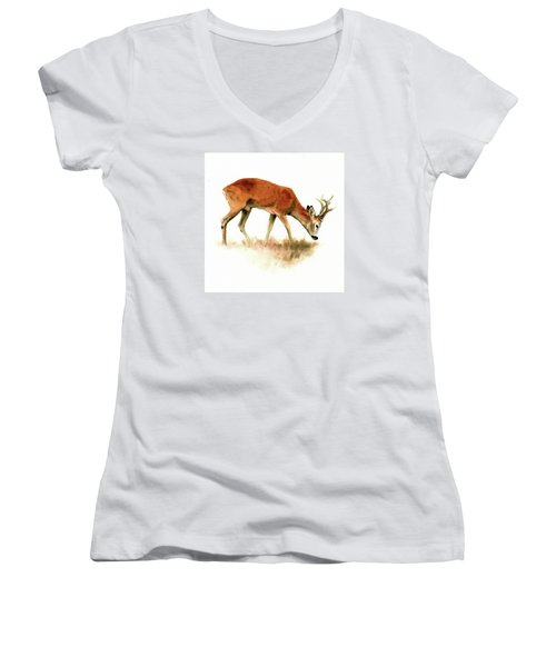 Grazing Roebuck Watercolor Women's V-Neck