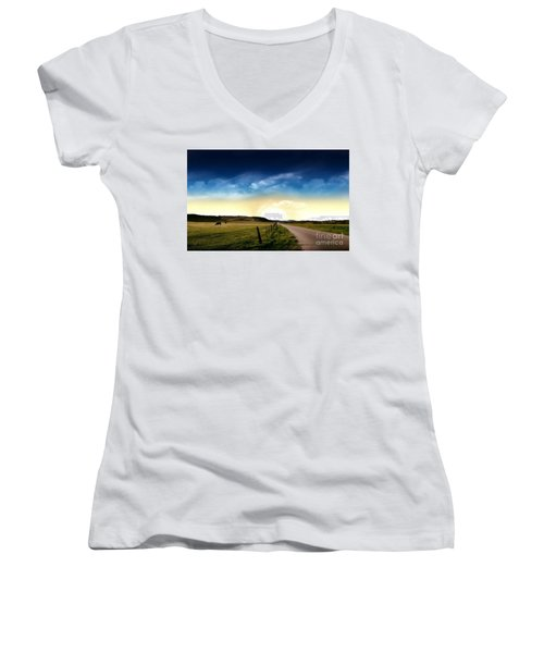 Grazing Time Women's V-Neck T-Shirt (Junior Cut) by Rod Jellison