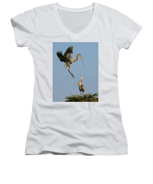 Women's V-Neck T-Shirt (Junior Cut) featuring the photograph Great Blue Heron Dropping In by Myrna Bradshaw