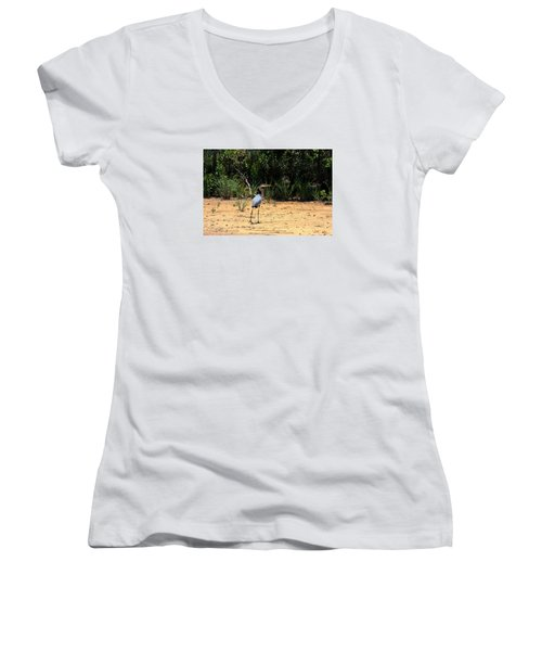 Women's V-Neck T-Shirt (Junior Cut) featuring the photograph Great Blue Heron On Beach by Sheila Brown