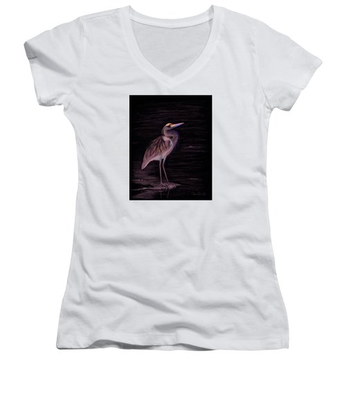 Great Blue Heron Women's V-Neck T-Shirt (Junior Cut) by Phyllis Howard