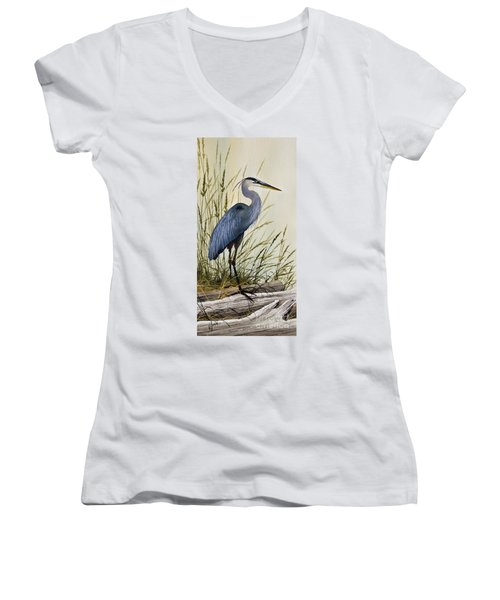 Great Blue Heron Splendor Women's V-Neck T-Shirt (Junior Cut) by James Williamson