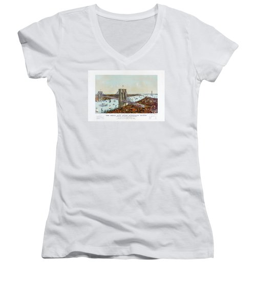 Great East River Suspension Bridge 1892 Women's V-Neck (Athletic Fit)