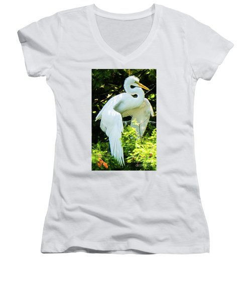 Great Egret Stretching Women's V-Neck
