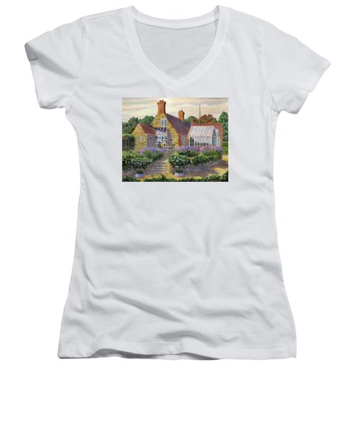 Great Houghton Cottage Women's V-Neck T-Shirt (Junior Cut) by David Gilmore