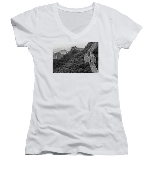 Women's V-Neck T-Shirt (Junior Cut) featuring the photograph Great Wall 3, Jinshanling, 2016 by Hitendra SINKAR