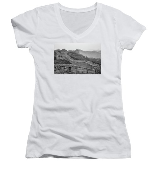 Women's V-Neck T-Shirt (Junior Cut) featuring the photograph Great Wall 7, Jinshanling, 2016 by Hitendra SINKAR
