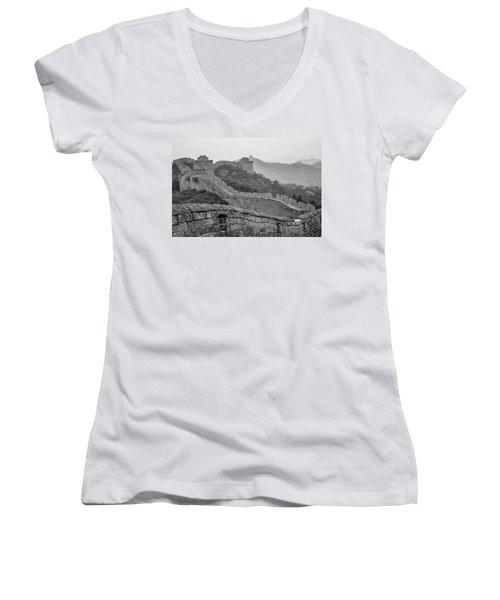 Great Wall 7, Jinshanling, 2016 Women's V-Neck T-Shirt (Junior Cut) by Hitendra SINKAR