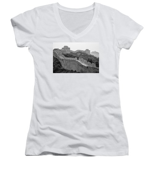 Women's V-Neck T-Shirt (Junior Cut) featuring the photograph Great Wall 8, Jinshanling, 2016 by Hitendra SINKAR