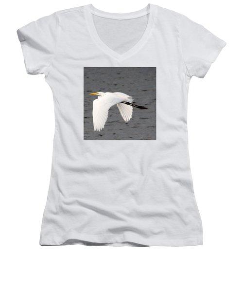 Great White Egret In Flight Women's V-Neck T-Shirt