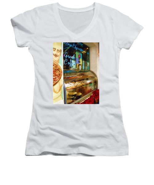 Greek Coffee Women's V-Neck T-Shirt (Junior Cut) by Sandy MacGowan