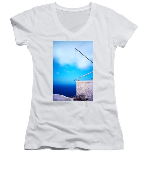 Greek Windmill Women's V-Neck T-Shirt