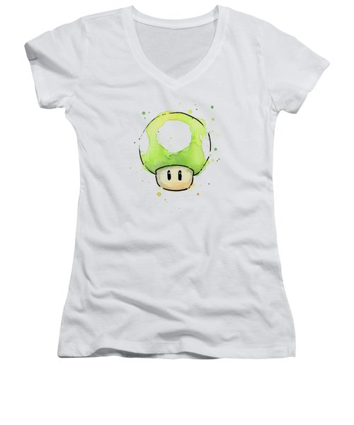 Green 1up Mushroom Women's V-Neck (Athletic Fit)