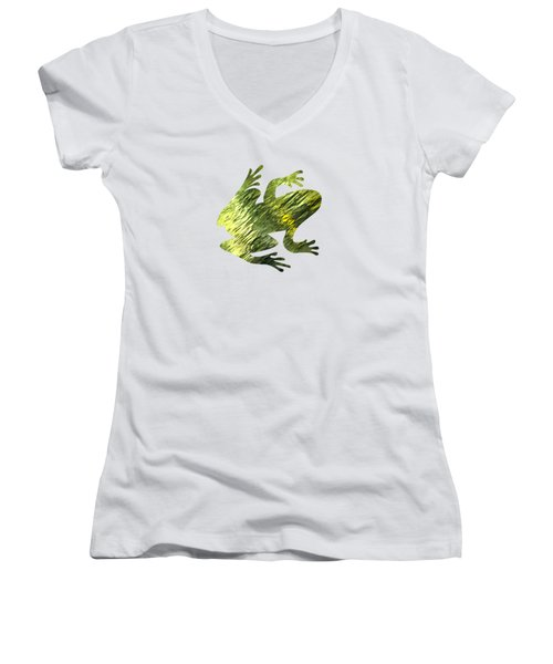 Green Abstract Water Reflection Women's V-Neck T-Shirt (Junior Cut) by Christina Rollo